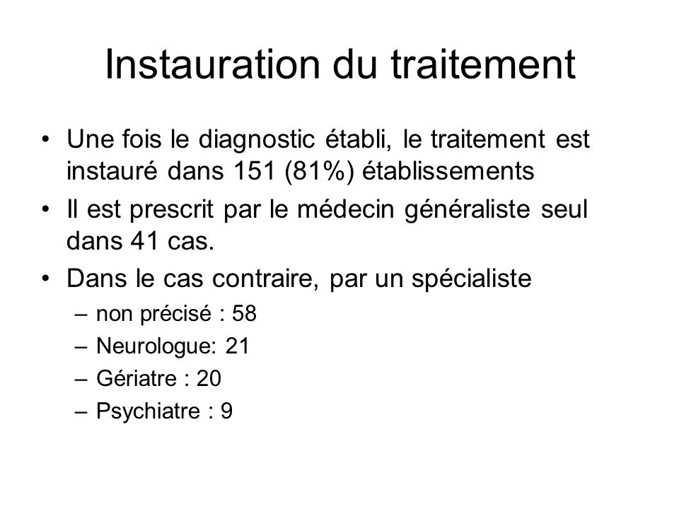 Instauration du traitement