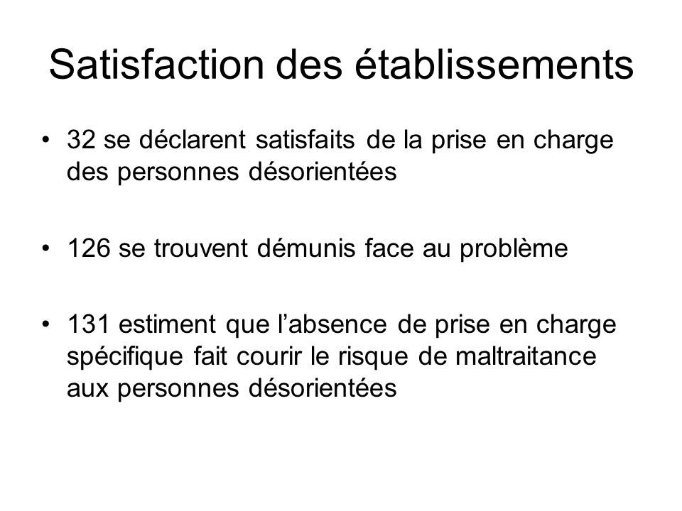 Satisfaction des établissements