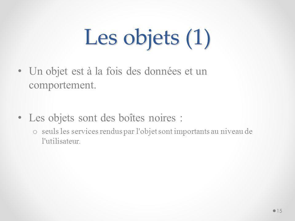 Les objets (1) Un objet est à la fois des données et un comportement.
