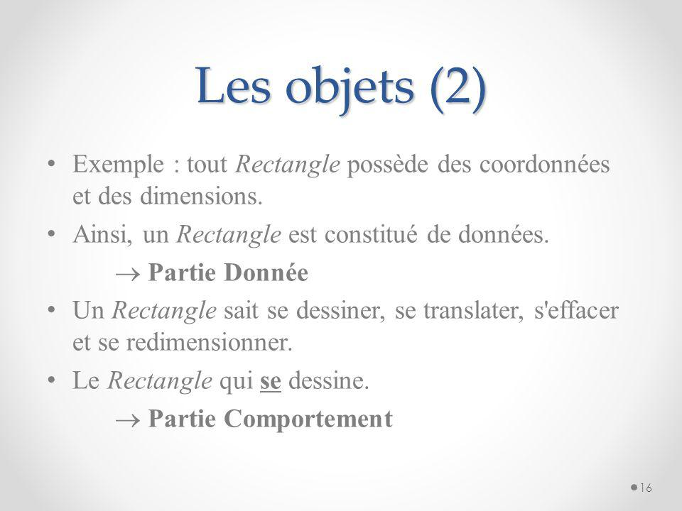 Les objets (2) Exemple : tout Rectangle possède des coordonnées et des dimensions. Ainsi, un Rectangle est constitué de données.