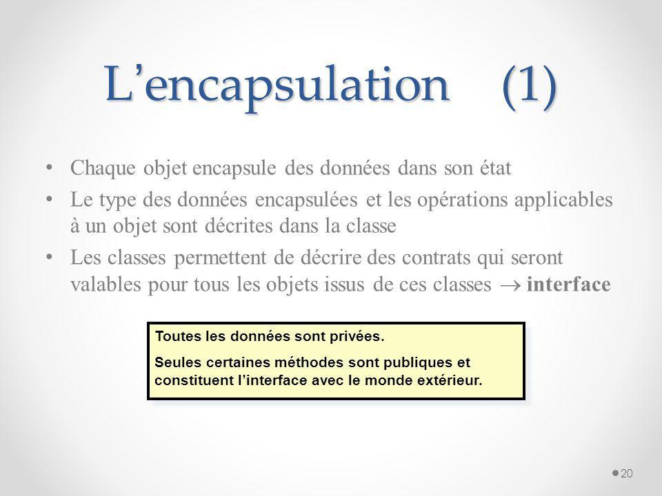 L'encapsulation (1) Chaque objet encapsule des données dans son état