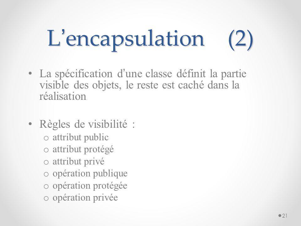 L'encapsulation (2) La spécification d'une classe définit la partie visible des objets, le reste est caché dans la réalisation.