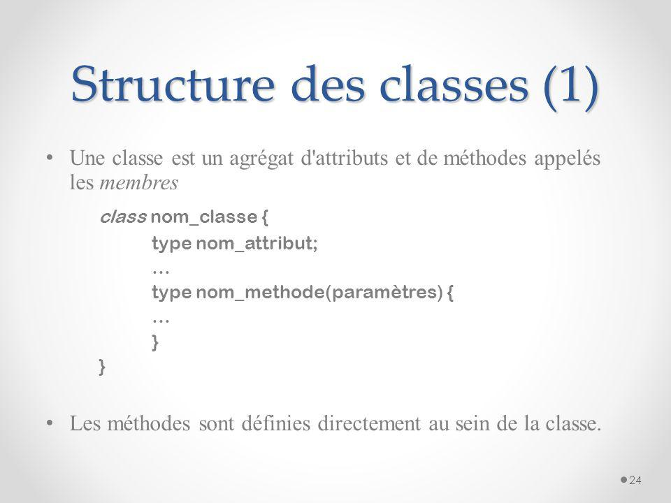 Structure des classes (1)