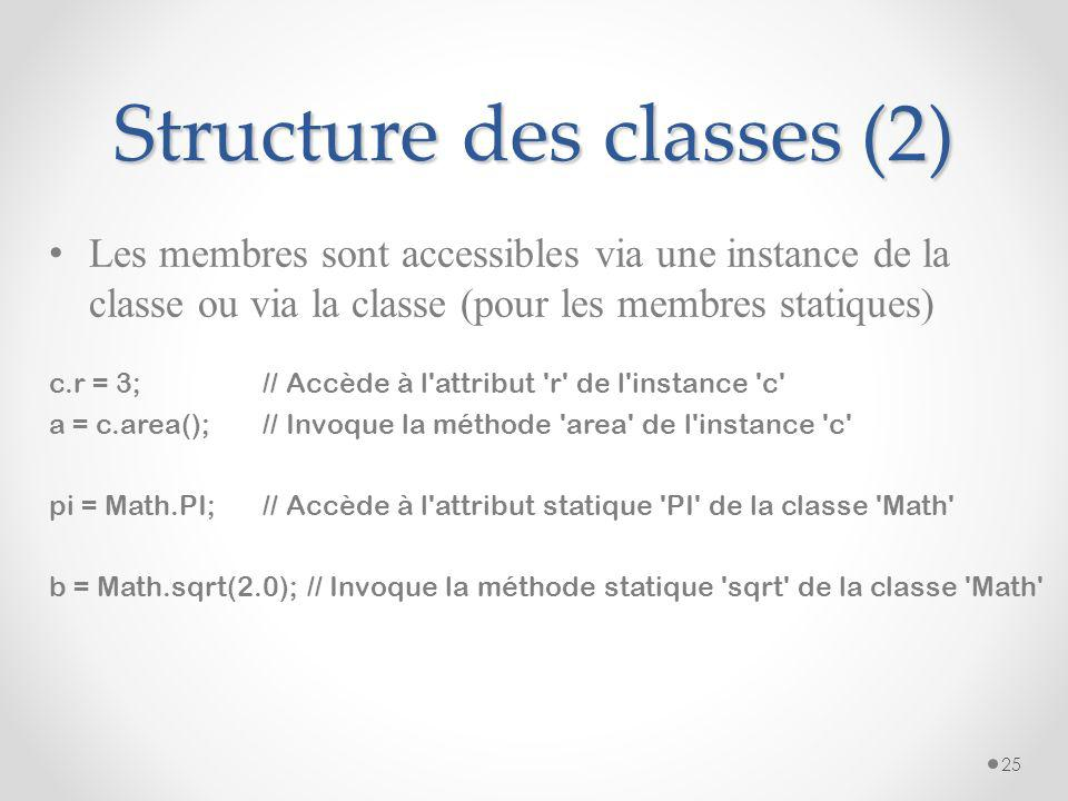 Structure des classes (2)
