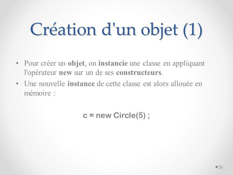 Création d un objet (1) Pour créer un objet, on instancie une classe en appliquant l opérateur new sur un de ses constructeurs.