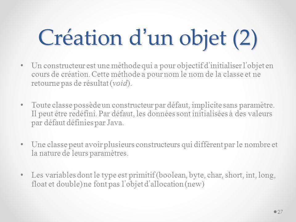 Création d'un objet (2)