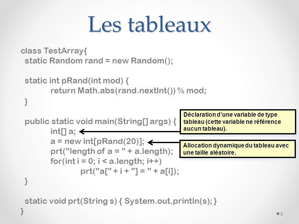 Les tableaux class TestArray{ static Random rand = new Random();