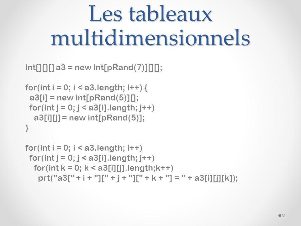 Les tableaux multidimensionnels