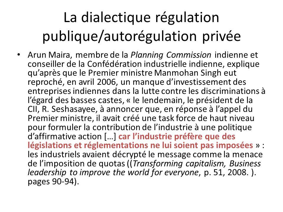 La dialectique régulation publique/autorégulation privée