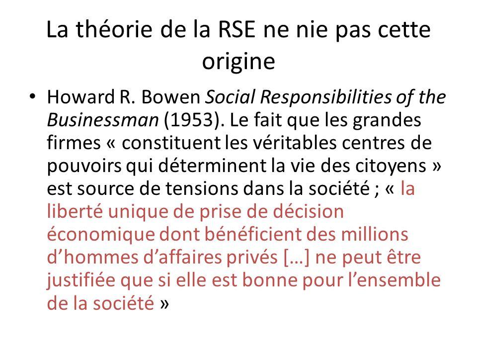 La théorie de la RSE ne nie pas cette origine