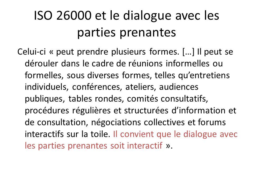 ISO 26000 et le dialogue avec les parties prenantes