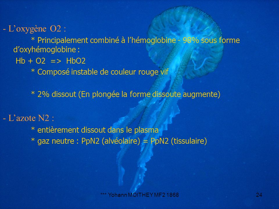 - L'oxygène O2 : - L'azote N2 :