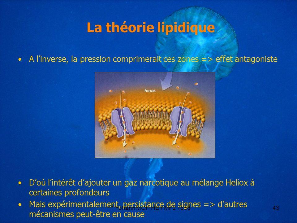 La théorie lipidique A l'inverse, la pression comprimerait ces zones => effet antagoniste.