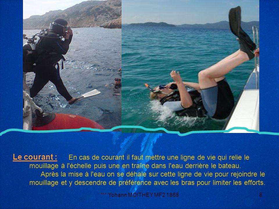 Le courant : En cas de courant il faut mettre une ligne de vie qui relie le mouillage à l échelle puis une en traîne dans l eau derrière le bateau.