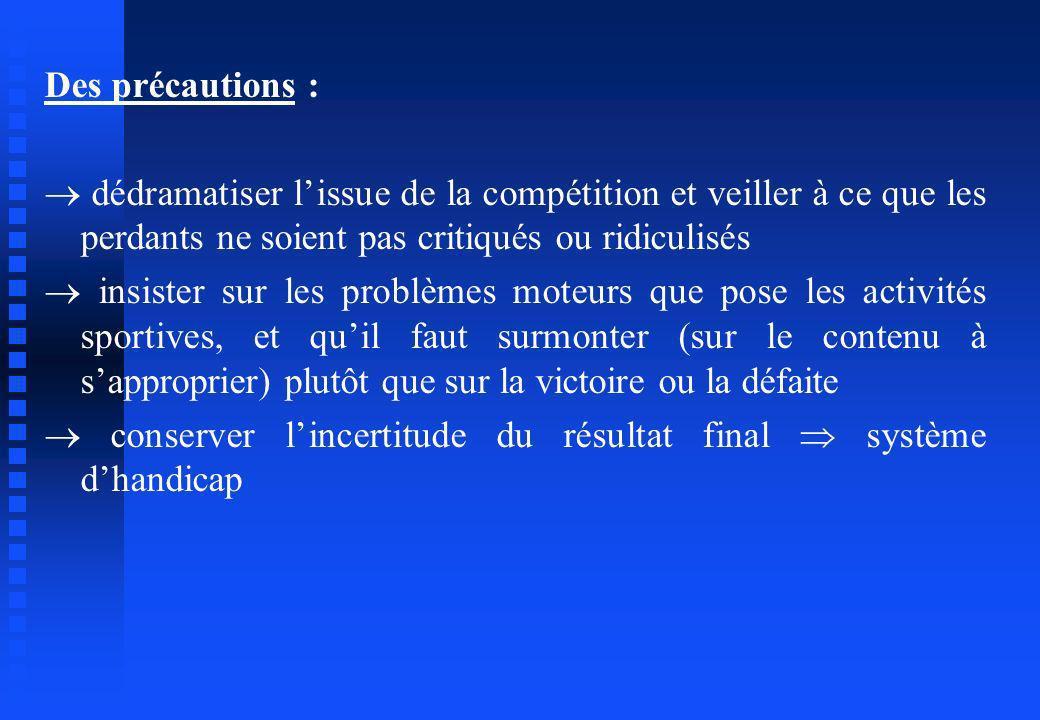 Des précautions :  dédramatiser l'issue de la compétition et veiller à ce que les perdants ne soient pas critiqués ou ridiculisés.