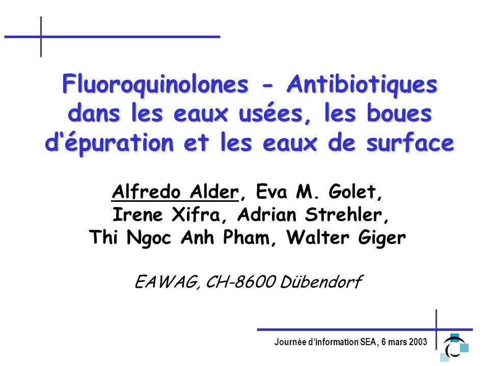 Fluoroquinolones - Antibiotiques dans les eaux usées, les boues d'épuration et les eaux de surface