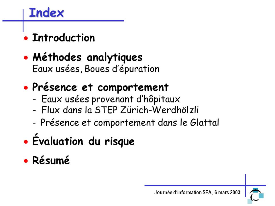 Index Introduction Méthodes analytiques Eaux usées, Boues d'épuration