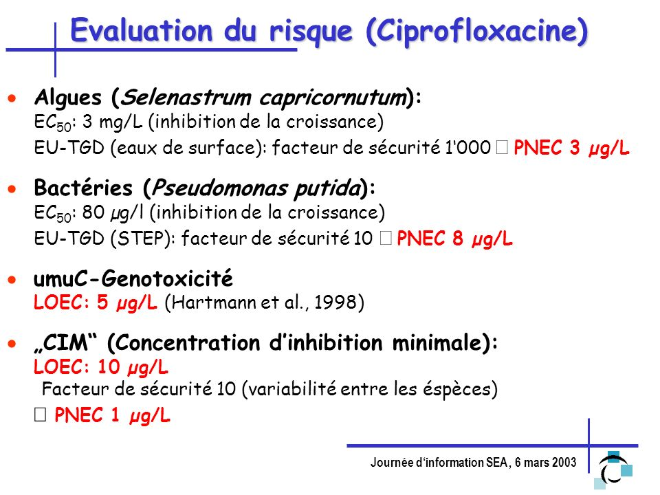 Evaluation du risque (Ciprofloxacine)