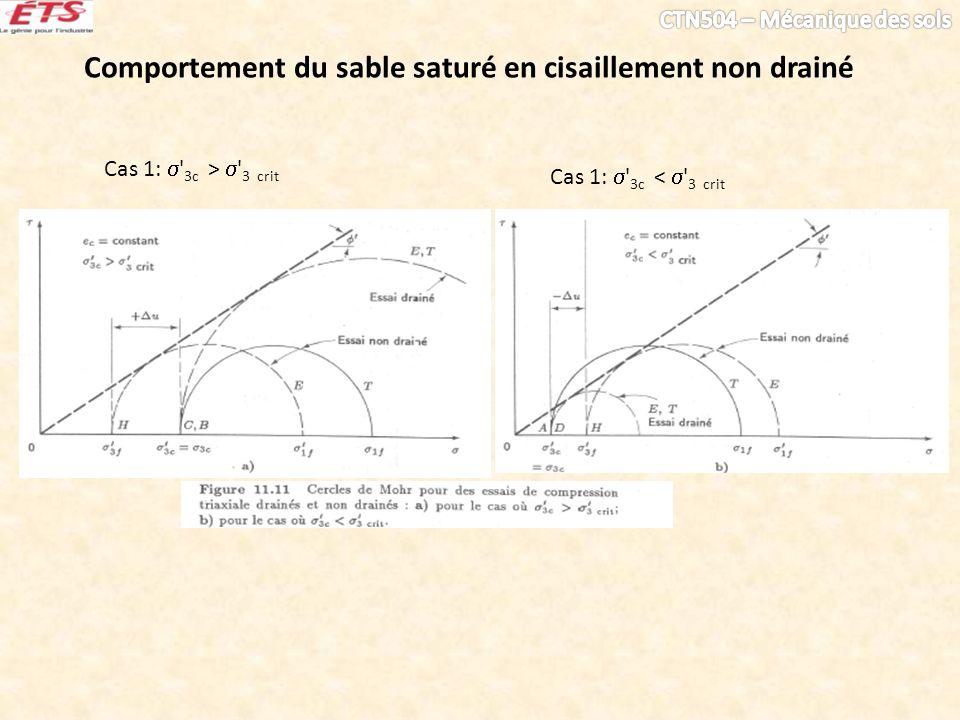 Comportement du sable saturé en cisaillement non drainé