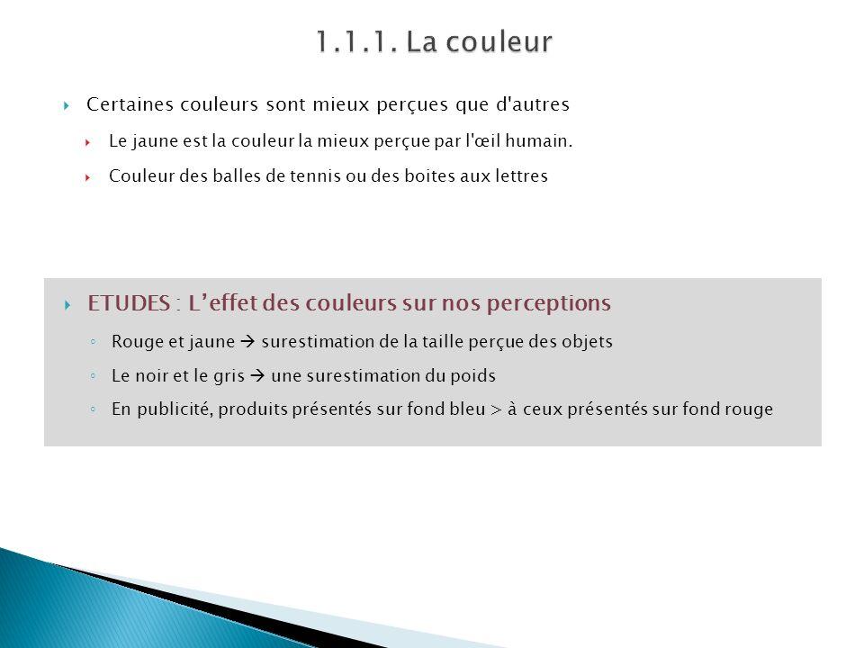 1.1.1. La couleur ETUDES : L'effet des couleurs sur nos perceptions