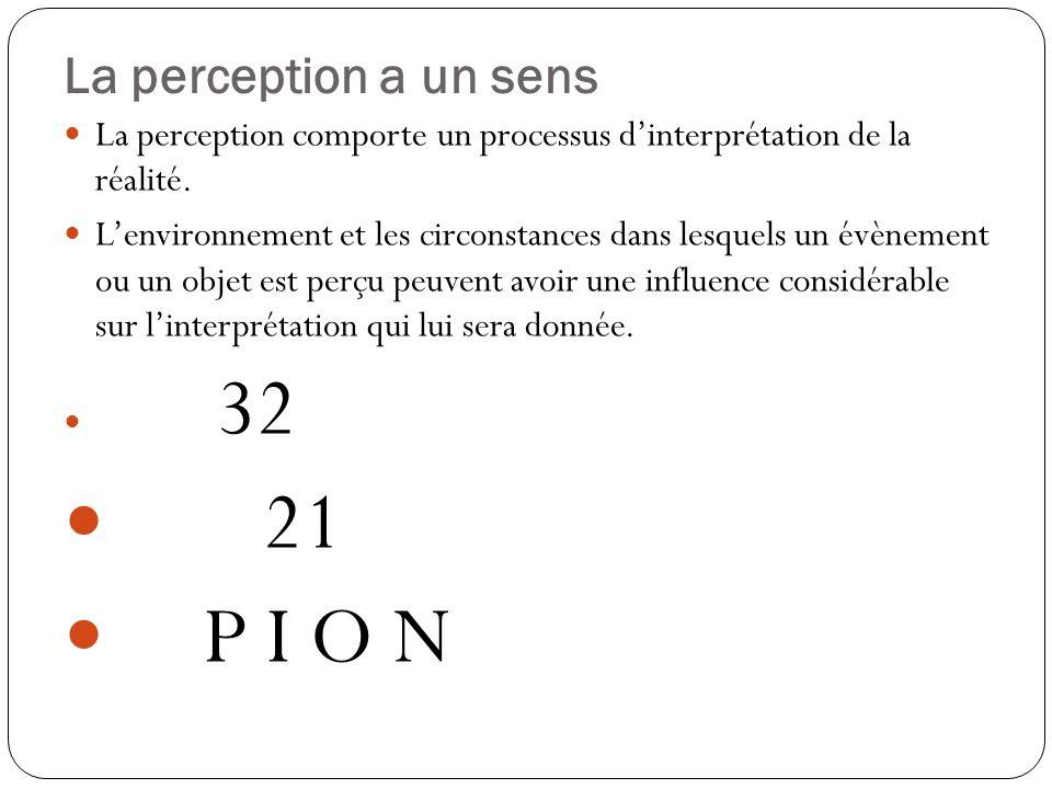 21 P I O N La perception a un sens