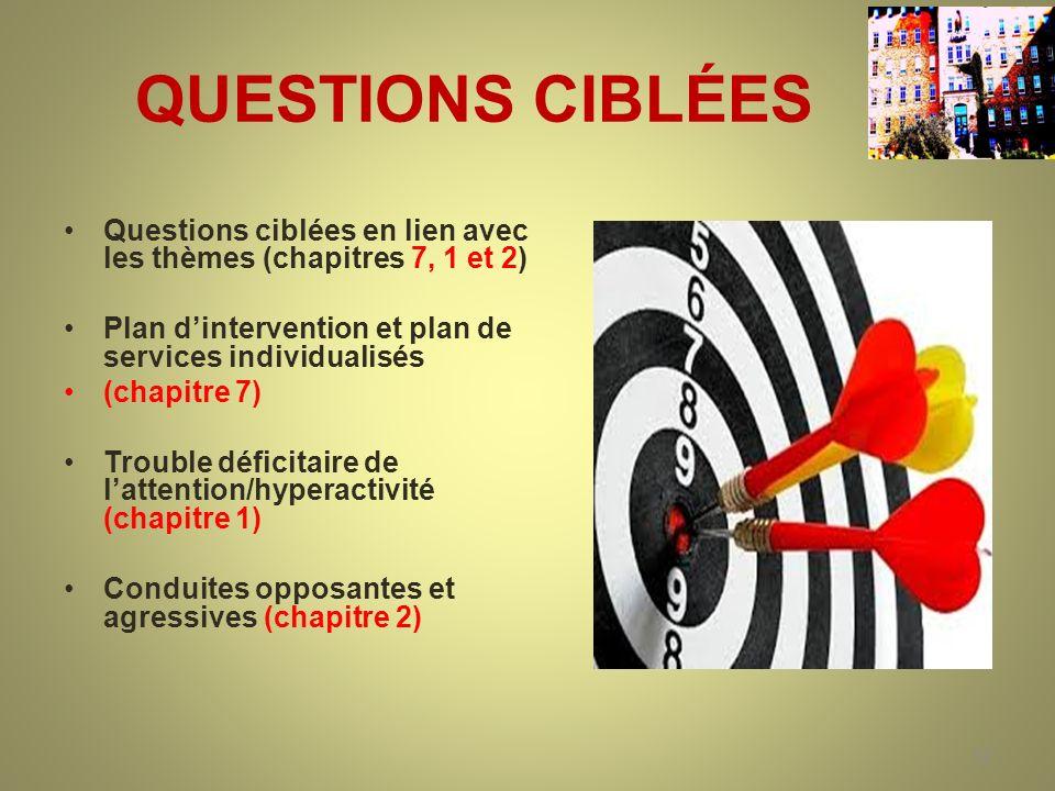 QUESTIONS CIBLÉES Questions ciblées en lien avec les thèmes (chapitres 7, 1 et 2) Plan d'intervention et plan de services individualisés.