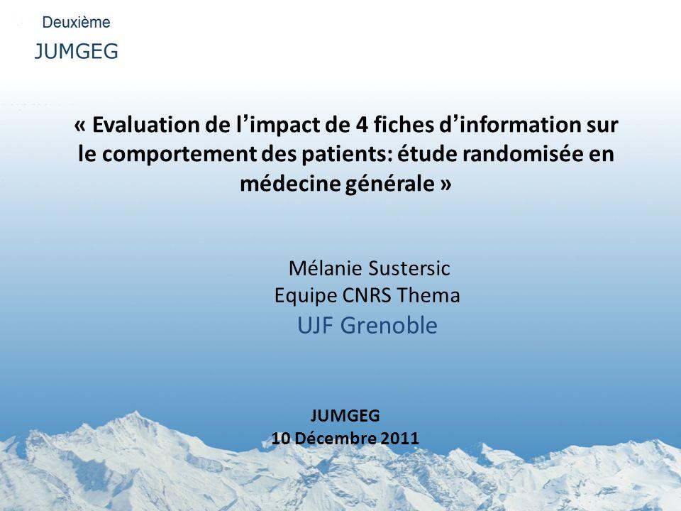 « Evaluation de l'impact de 4 fiches d'information sur le comportement des patients: étude randomisée en médecine générale »