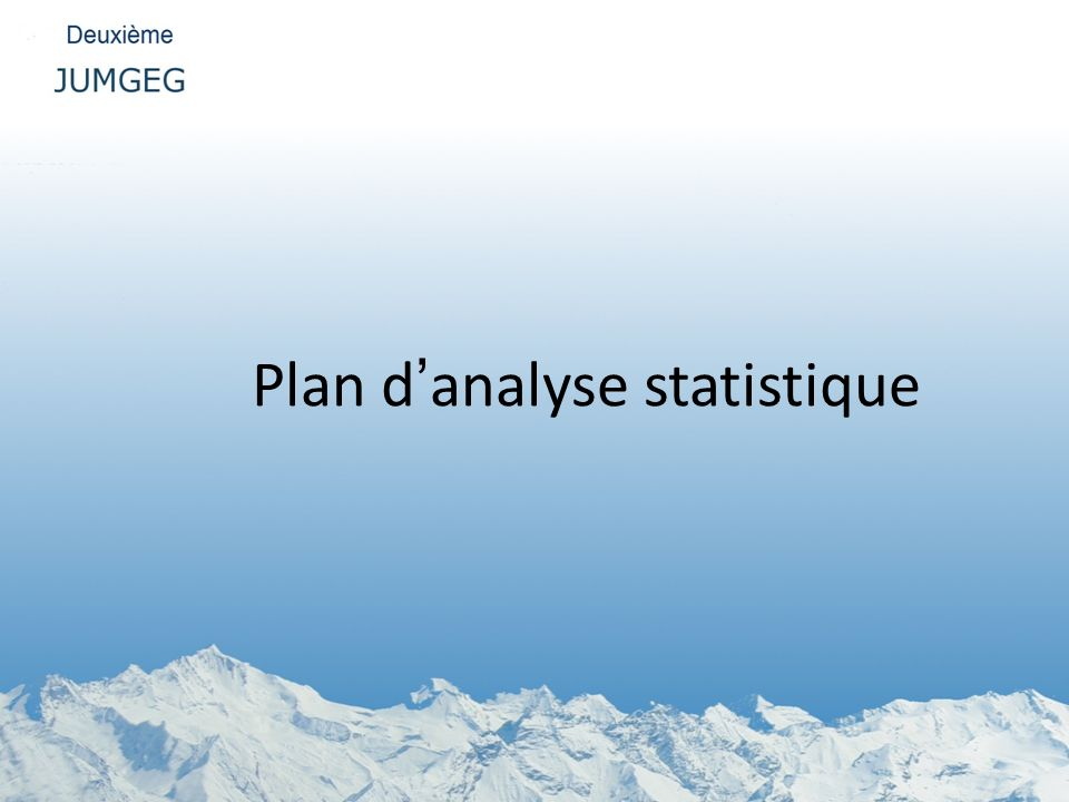 Plan d'analyse statistique