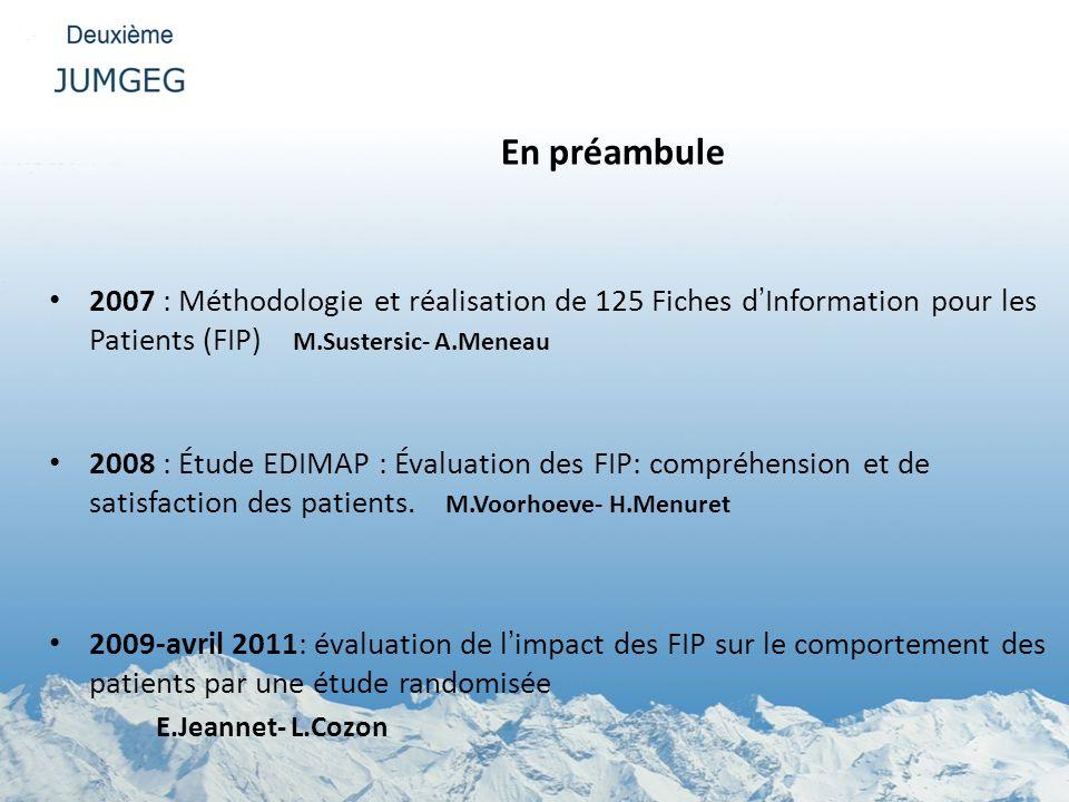 En préambule 2007 : Méthodologie et réalisation de 125 Fiches d'Information pour les Patients (FIP) M.Sustersic- A.Meneau.