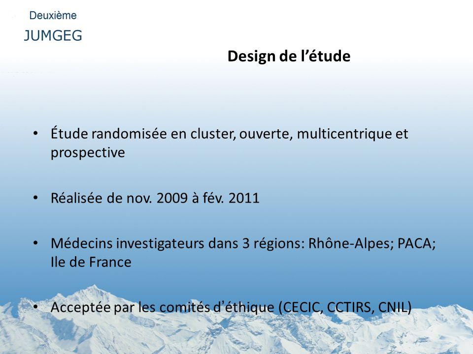 Design de l'étude Étude randomisée en cluster, ouverte, multicentrique et prospective. Réalisée de nov. 2009 à fév. 2011.
