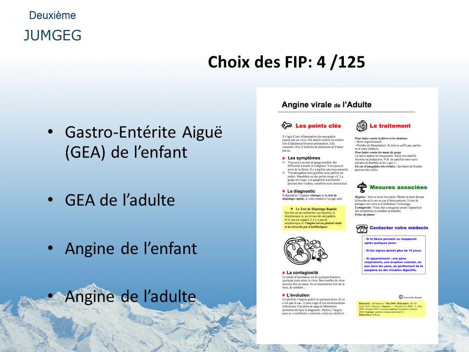 Choix des FIP: 4 /125 Gastro-Entérite Aiguë (GEA) de l'enfant. GEA de l'adulte. Angine de l'enfant.