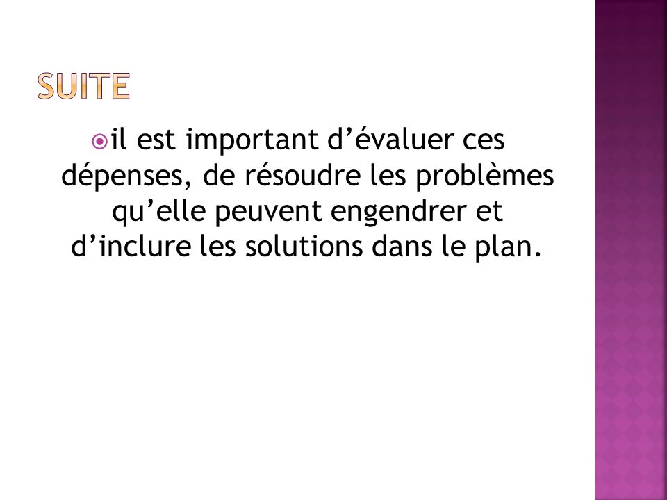 Suite il est important d'évaluer ces dépenses, de résoudre les problèmes qu'elle peuvent engendrer et d'inclure les solutions dans le plan.