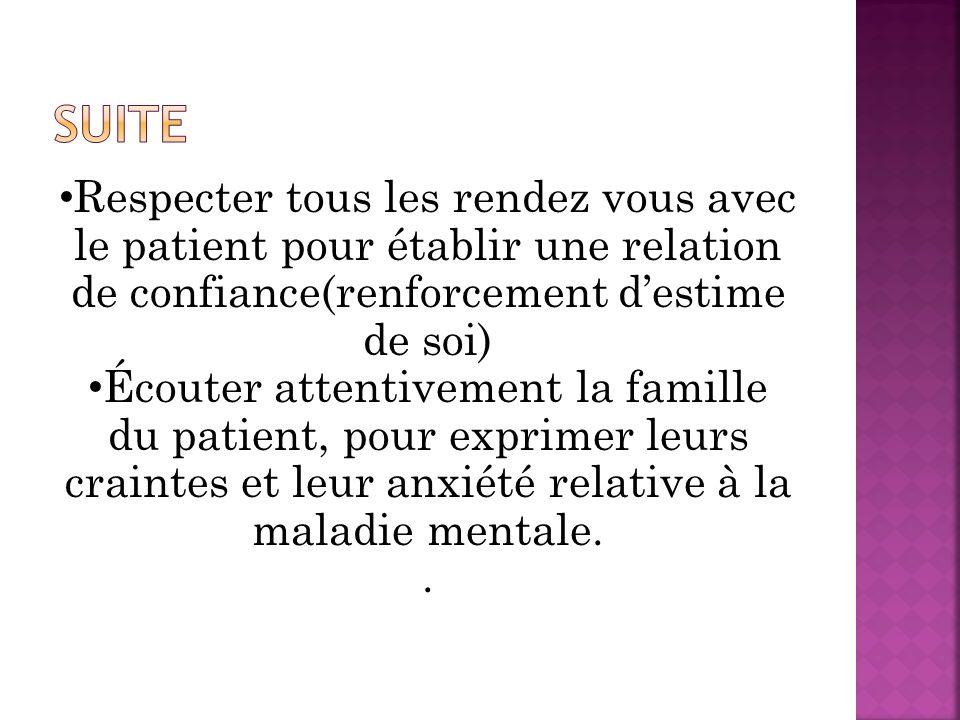Suite Respecter tous les rendez vous avec le patient pour établir une relation de confiance(renforcement d'estime de soi)