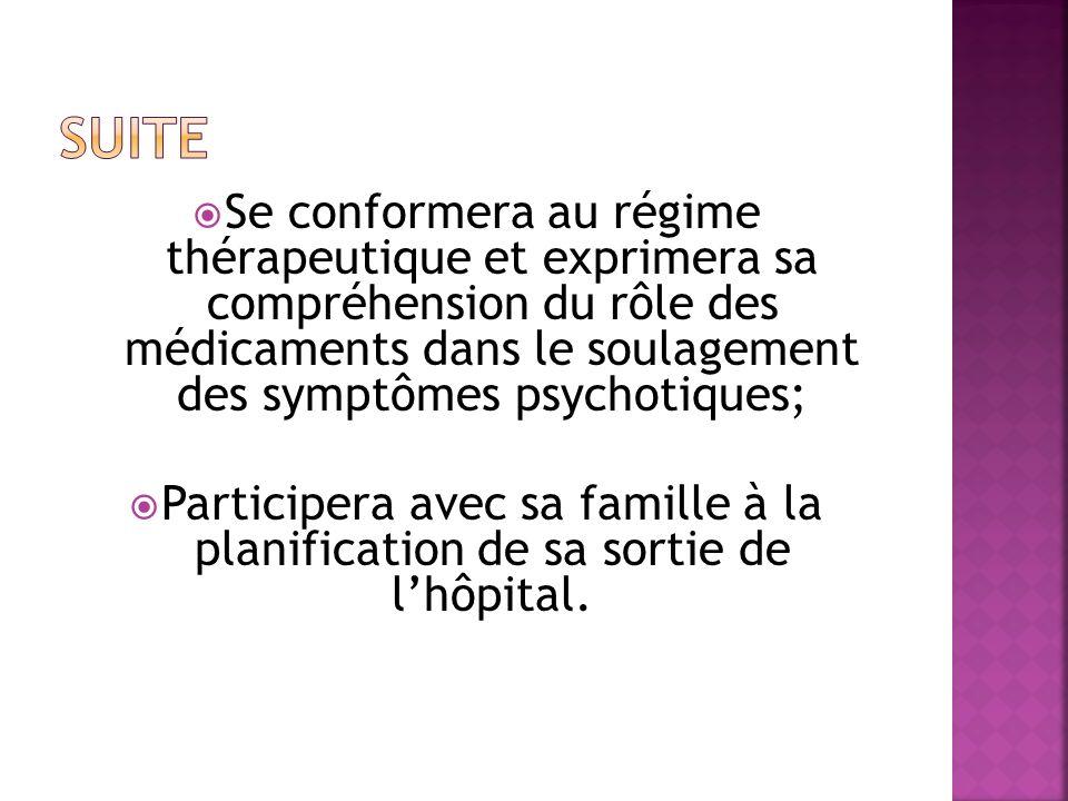 Suite Se conformera au régime thérapeutique et exprimera sa compréhension du rôle des médicaments dans le soulagement des symptômes psychotiques;