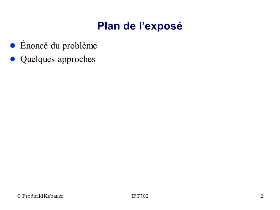 Plan de l'exposé Énoncé du problème Quelques approches