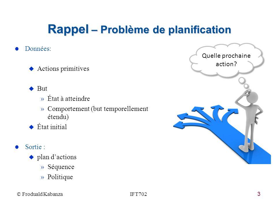 Rappel – Problème de planification