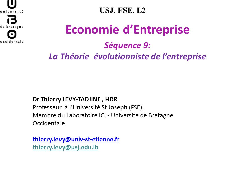 Economie d'Entreprise La Théorie évolutionniste de l'entreprise
