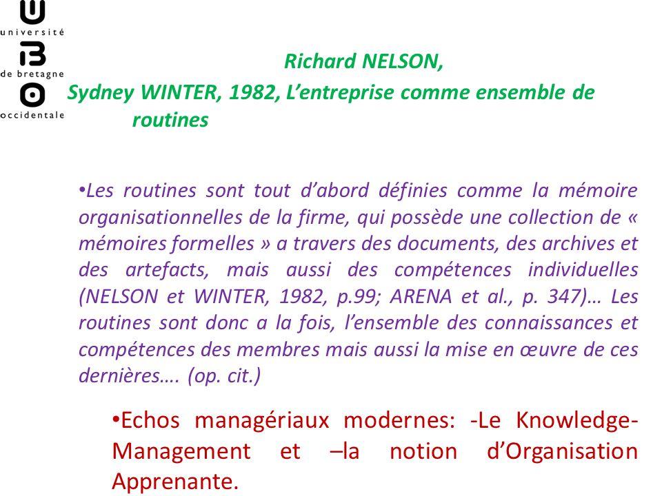 Richard NELSON, Sydney WINTER, 1982, L'entreprise comme ensemble de routines