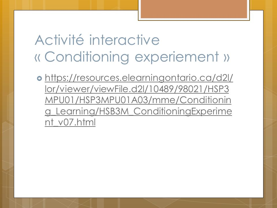 Activité interactive « Conditioning experiement »