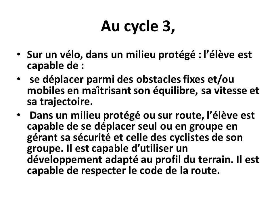 Au cycle 3, Sur un vélo, dans un milieu protégé : l'élève est capable de :