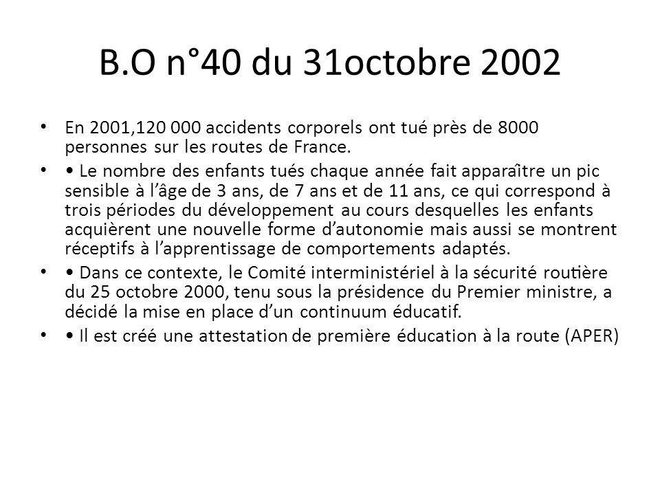 B.O n°40 du 31octobre 2002 En 2001,120 000 accidents corporels ont tué près de 8000 personnes sur les routes de France.