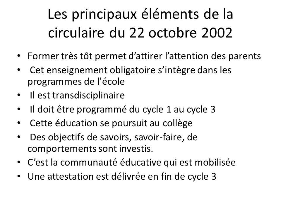 Les principaux éléments de la circulaire du 22 octobre 2002
