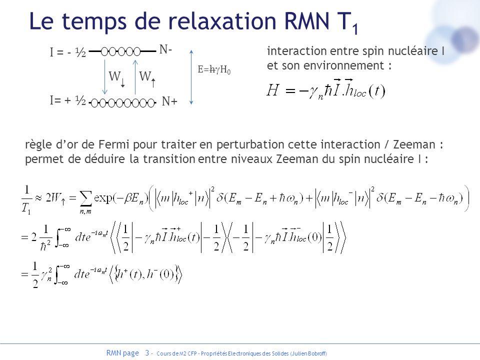Le temps de relaxation RMN T1