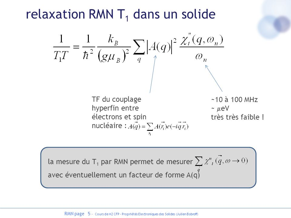 relaxation RMN T1 dans un solide