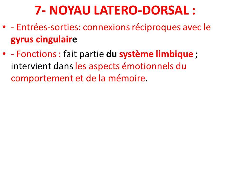 7- NOYAU LATERO-DORSAL :