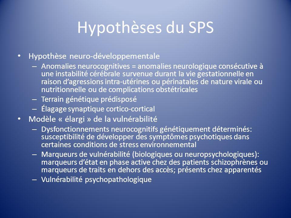 Hypothèses du SPS Hypothèse neuro-développementale