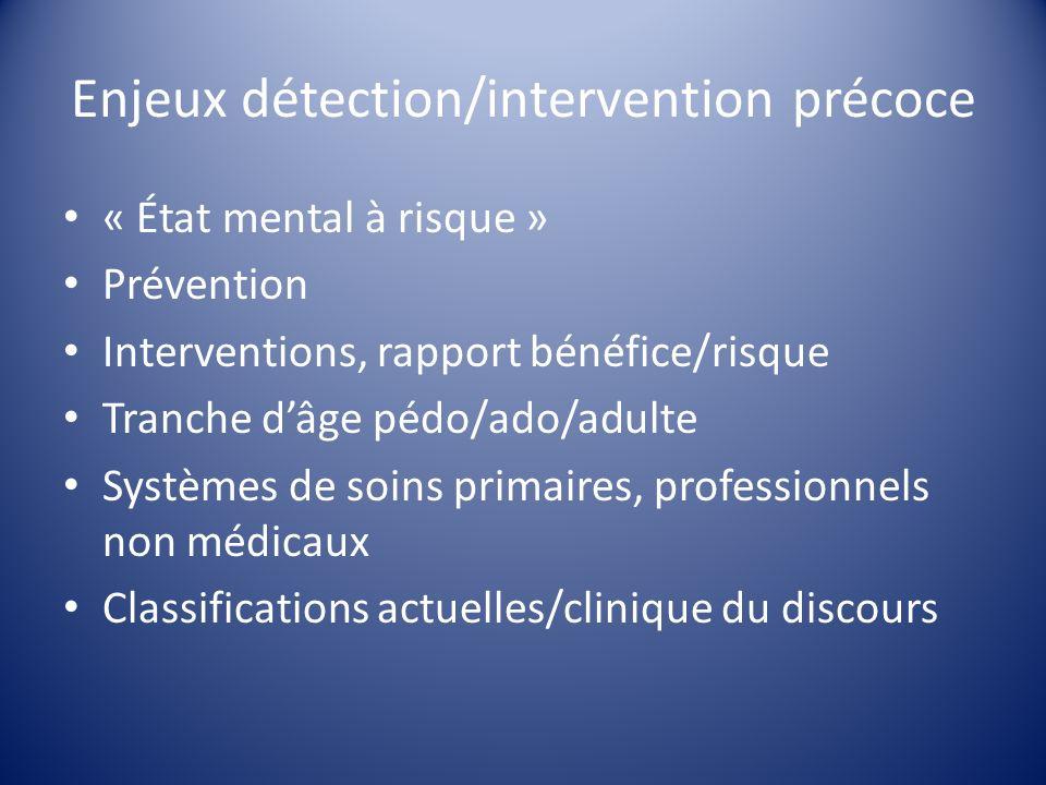 Enjeux détection/intervention précoce