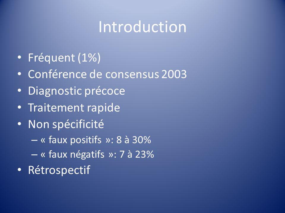 Introduction Fréquent (1%) Conférence de consensus 2003