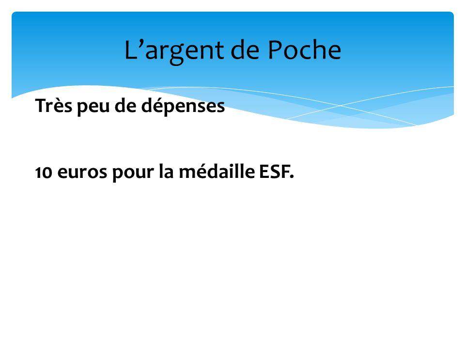 L'argent de Poche Très peu de dépenses 10 euros pour la médaille ESF.