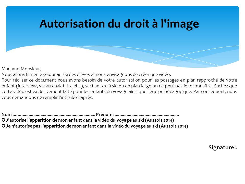 Autorisation du droit à l image